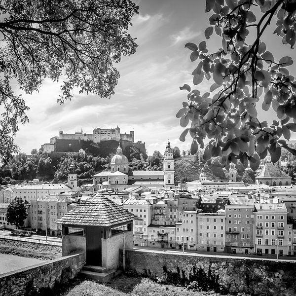 SALZBURG Blick auf die Altstadt mit Stadtmauer  Monochrom  von Melanie Viola