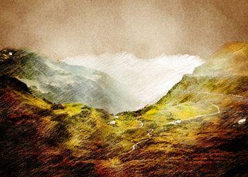 Zwitserland Klaussen Pass landschap schilderij #Zwitserland van JBJart Justyna Jaszke