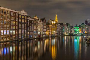 Damrak in Amsterdam in de avond - 2