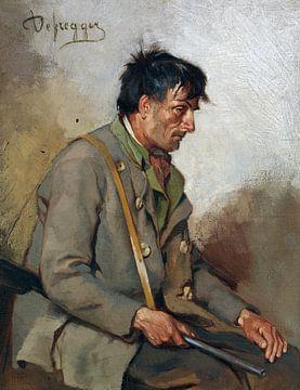 Sitzender Jäger, FRANZ VON DEFREGGER, Nach 1900 von Atelier Liesjes
