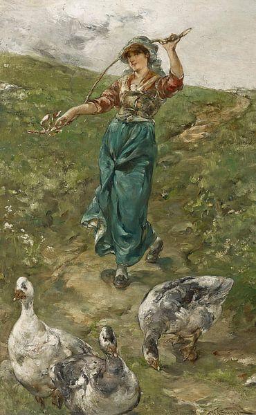Walter Shirlaw-De Gänseherde von finemasterpiece