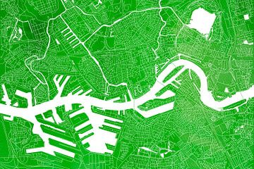 Rotterdam Stadskaart | Groene Aquarel