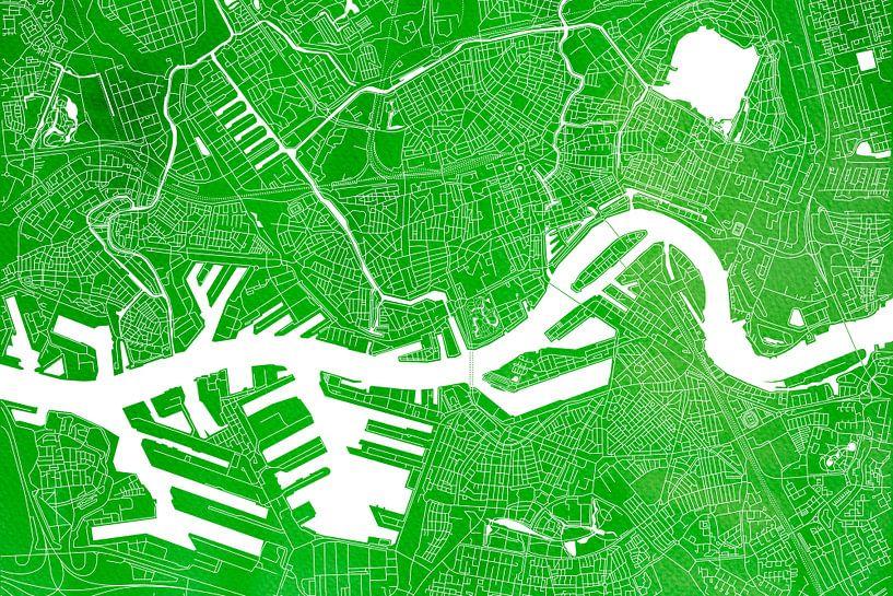 Rotterdam Stadskaart | Groene Aquarel van Wereldkaarten.Shop