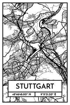 Stuttgart - Stadsplattegrondontwerp Stadsplattegrond (Retro)