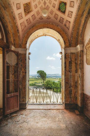 Uitzicht over de kasteeltuin