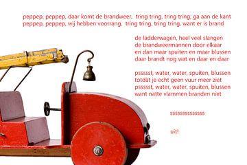 rode speelgoed brandweerwagen  von Bargo Kunst