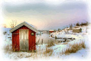 Winter landschap Noorwegen van Maurice Dawson