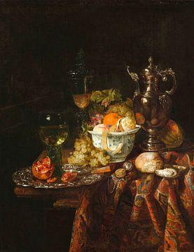 Nature morte avec pichet à vin en métal, coupe en verre et couvercle, Roemer, fruits et montre, Abra