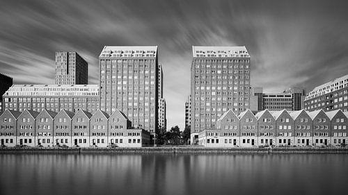 Spoorweghaven in Rotterdam (zwart-wit)