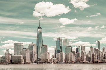 NEW YORK VILLE Manhattan Skyline & Hudson River | style vintage urbain sur Melanie Viola