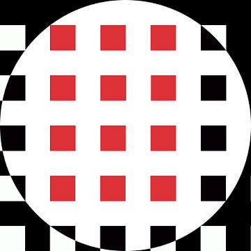 Abstrakte geometrische Formen in Schwarz-Weiß-Rot von Maurice Dawson