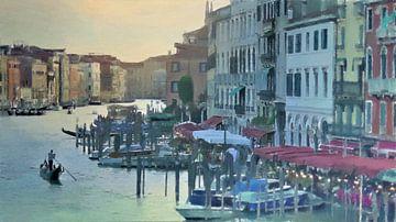 Italië - Romantisch Dineren in  Venetië - Schilderij van Schildersatelier van der Ven