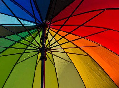 Onder kleurrijke paraplu van