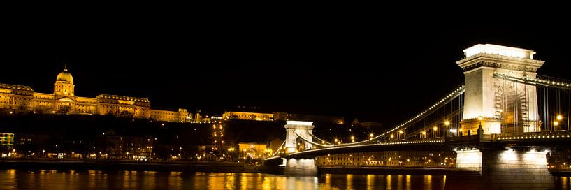 De Kettingbrug in Boedapest met het Koninklijk paleis van Willem Vernes
