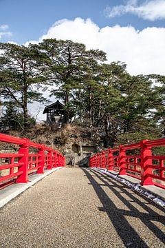 Rote Brücke zu einer kleinen Insel von Mickéle Godderis