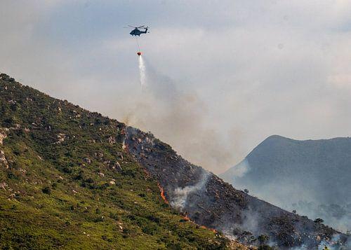 Brandblus-helicopter aan het werk