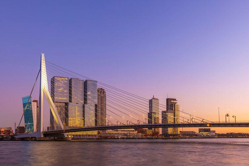 Die Erasmusbrücke in Rotterdam während der goldenen / blauen Stunde in einem bunten Glanz von Arjan Almekinders