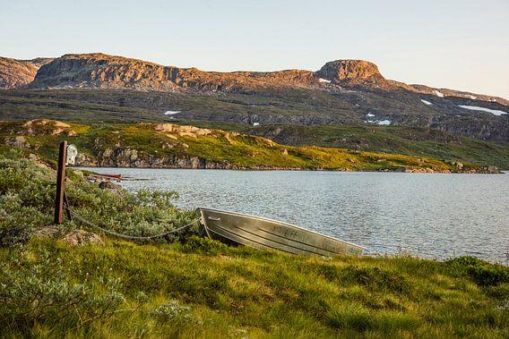 Kleines Boot, das auf einen Flug über dem Stavatn wartet von Wouter Loeve