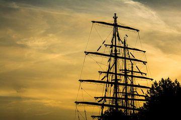 Tall Ship in goud Sail Amsterdam van Ton de Koning