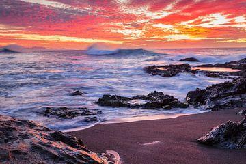 Kust bij zonsondergang, Fuerteventura, Canarische Eilanden, Spanje van Markus Lange