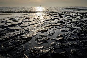 Golfbreker in de Noord zee van Roel Beurskens