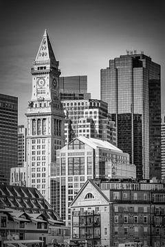 BOSTON skyline met Custom House Tower | monochroom van Melanie Viola