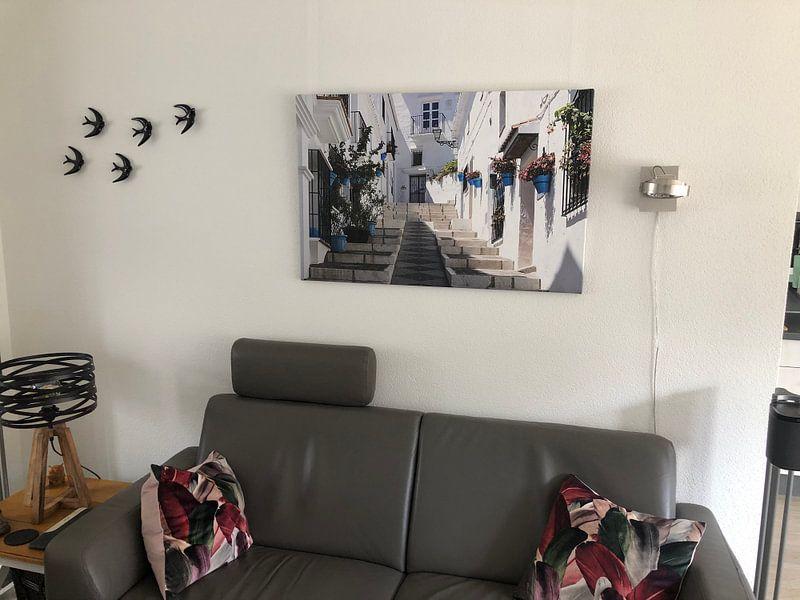 Klantfoto: wit straatje in Andalusië van Antwan Janssen, op canvas