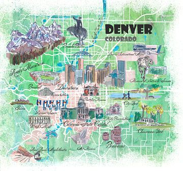 Illustrierte Karte von Denver Colorado USA mit Sehenswürdigkeiten und Highlights der Hauptstraßen von Markus Bleichner