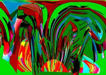Abstrakte Landschaft van Harry Ucksche