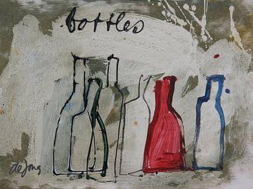 Bottles, flessen bij elkaar von Leo de Jong