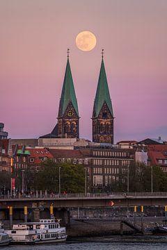 Vollmond über Bremen von Michael Abid
