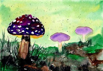 Paarse paddestoelen in het bos van ZeichenbloQ