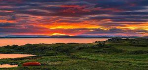 Sunset at lake Myvatn, Iceland