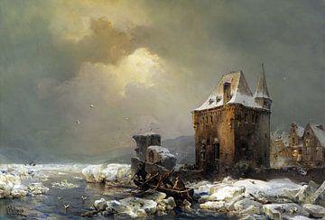 Eisfischer am Wasserschloss, CARL HILGERS, Um 1886