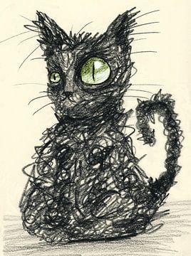 Schlampige schwarze Katze von Bianca Wisseloo