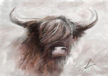 Schilderij van schotse hooglander. Mooi landelijk kunstwerk met zachte warme grijstinten in combinat van Emiel de Lange