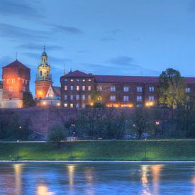 Kasteel Wawel in de schemering, Krakau, Klein-Polen, Polen, Europa van Torsten Krüger
