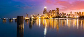 Chicago by Night van Freek van den Bergh