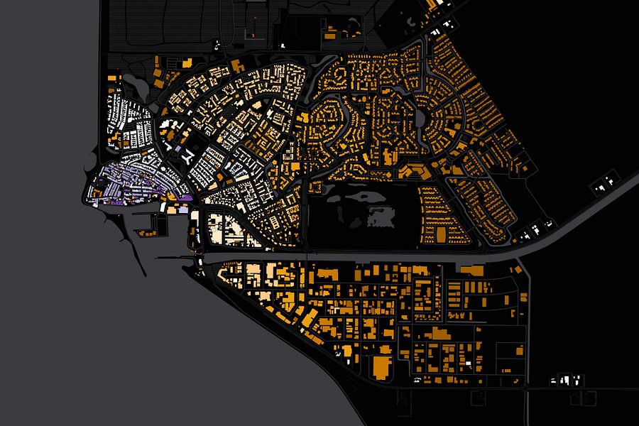 Kaart van Urk abstract van Stef Verdonk