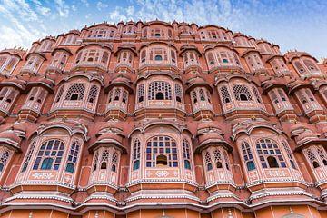 Gevel van het Paleis van de Wind in Jaipur, India van Marc Venema
