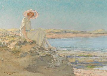 Eine Dame mit Hut am Strand