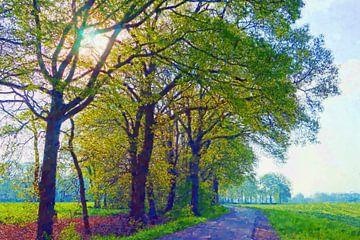 Lente start aan een landweg (impressionisme) van Wieland Teixeira
