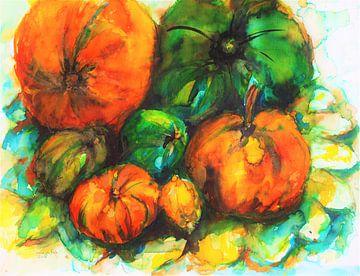 Oranje goud gele pompoenen van Ineke de Rijk