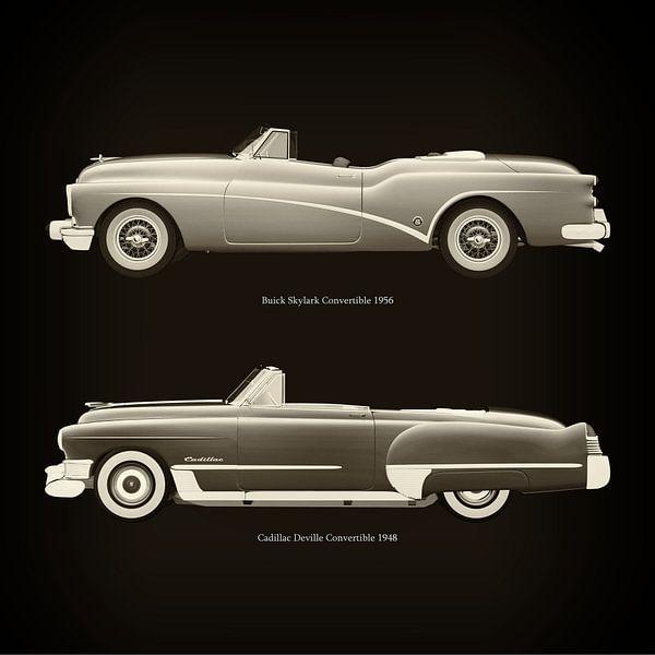 Buick Skylark Cabriolet 1956 en Cadillac Deville Cabriolet 1948 van Jan Keteleer