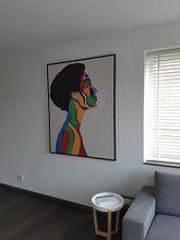 Klantfoto: Madame, en profil portret van een dame van Freek van der Hoeve, op canvas