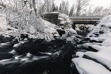 Beek in winterlandschap - Vesterålen, Noorwegen van Martijn Smeets