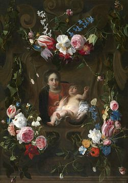 Blumenkartusche mit Statue von Mary Daniel Seghers, Thomas Willeboirts Bosschaert