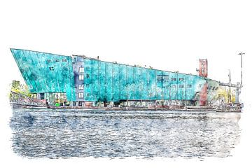 Nemo Wissenschaftsmuseum Amsterdam (Aquarell) von Art by Jeronimo