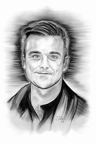 Robbie Williams In Black And White van