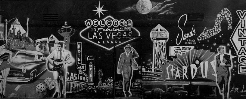 Las Vegas Graffiti Vintage Zwart/Wit Panorama van Martin Van der Pluym
